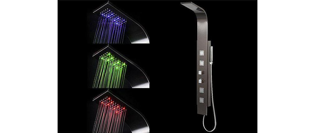 Duschsäule thermostatisch Schwarz mit LED-Beleuchtung SANAGA