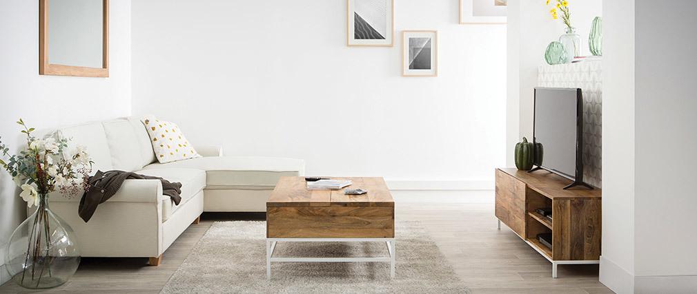 Ecksofa klassisch Stoff 3-Sitzer Naturfarben MONCEAU