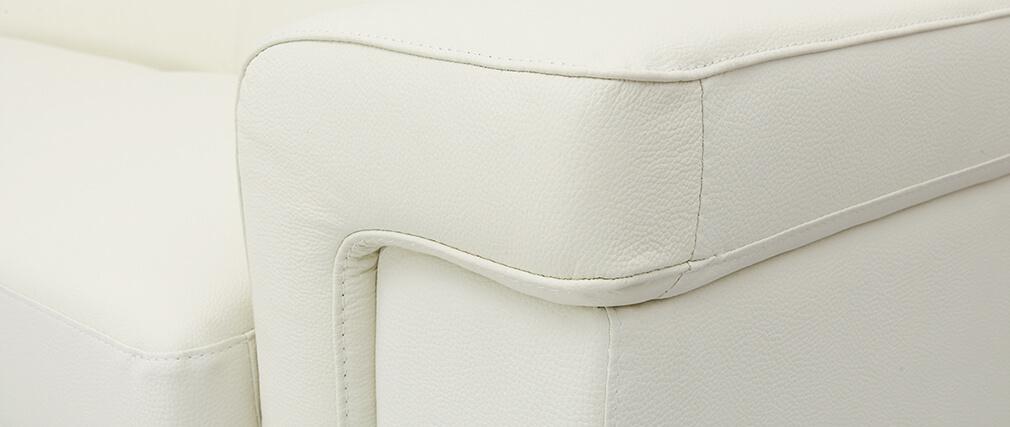 Ecksofa Leder mit Stauraum verstellbares Kopfstück Weiß FRANKLIN - Büffelleder