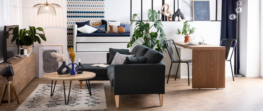 Ecksofa links OSLO im skandinavischen Stil aus hellgrauem, abziehbarem Stoff