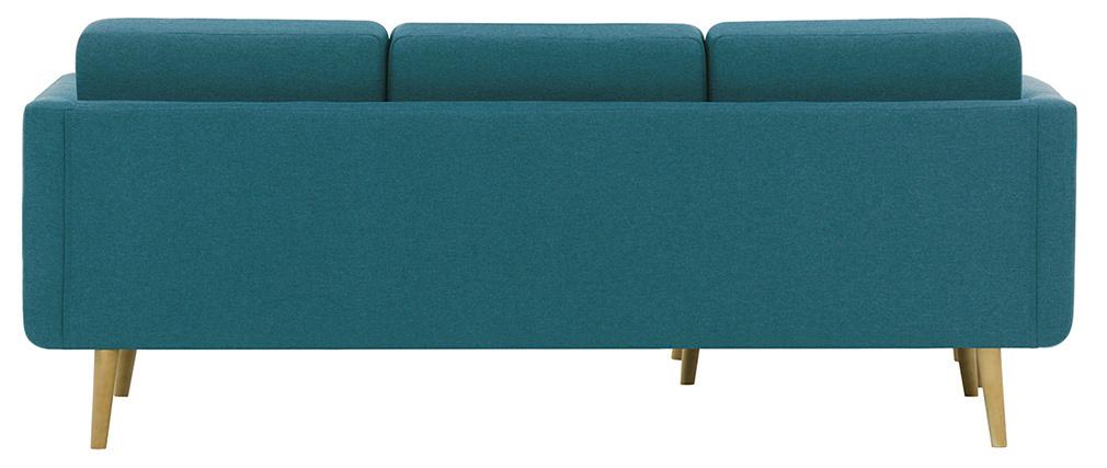 Ecksofa skandinavisch blaugrüner Stoff und Holz ELFE