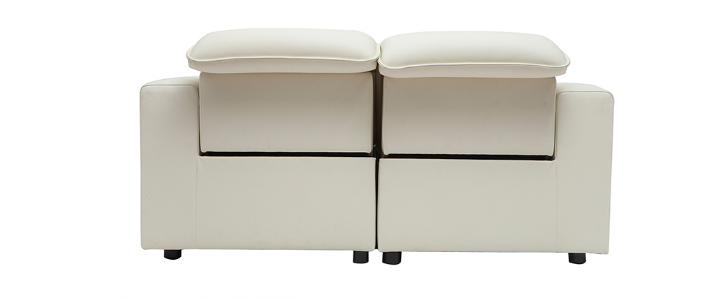 Elektrisches Relax-Sofa aus weißem Leder mit verstellbarer Kopfstütze RUIZ - Büffelleder