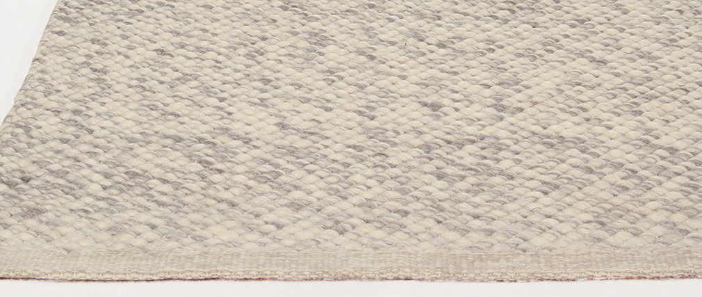 Elfenbeinfarbener Wollteppich 140 x 200 cm WOOL
