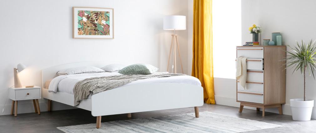Erwachsenenbett 160 x 200 cm Holz und Weiß NEA