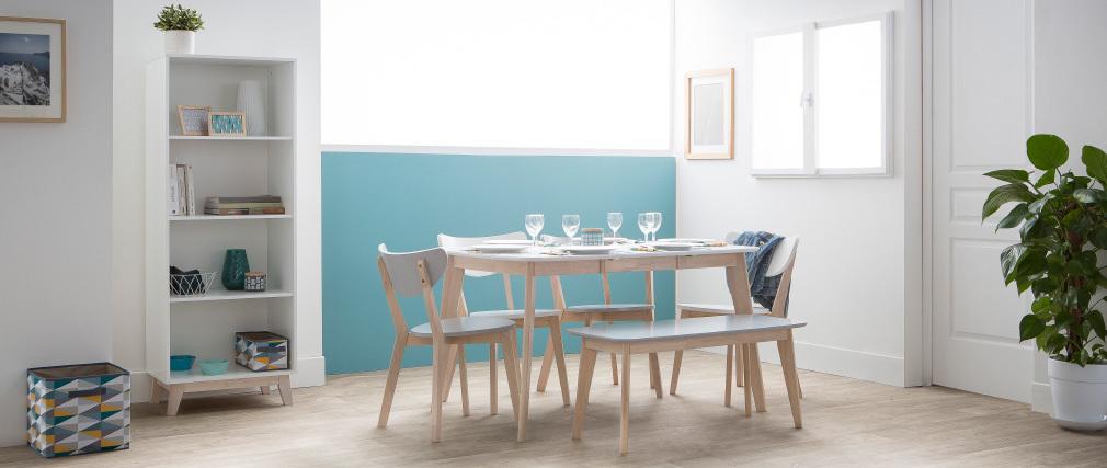 Esstisch ausziehbar skandinavisch quadratisch aus hellem Holz L90-130 LEENA