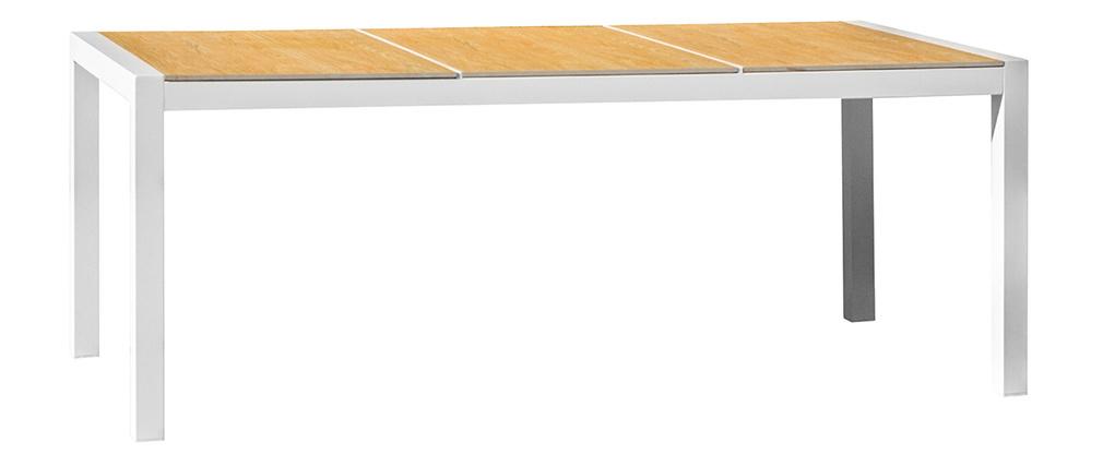 Esstisch für den Außenbereich weiß und Holz BLANCA