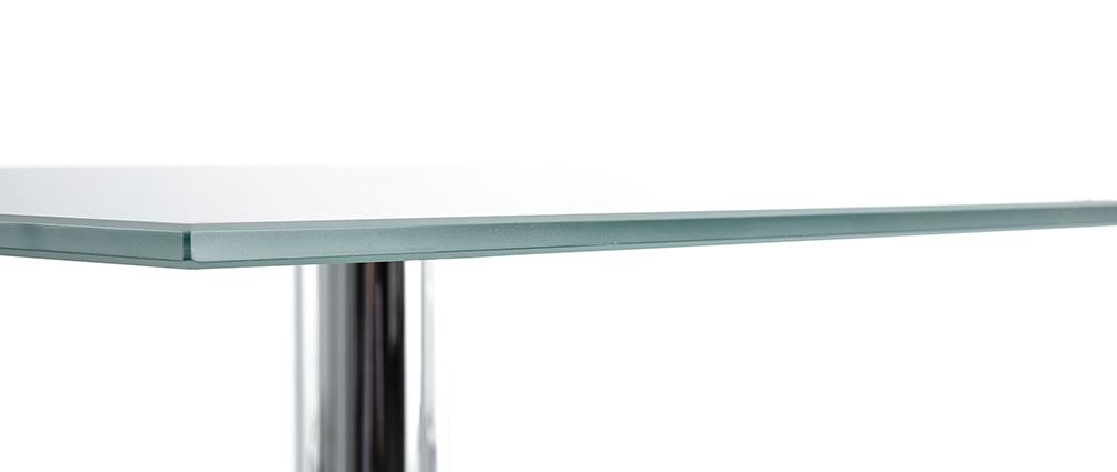 Esstisch rechteckig aus weißem Glas und verchromten Tischbeine 80cm KROM