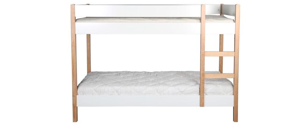 Etagenbett Kind mit herausnehmbaren Platten helles Holz und Weiß ALTO