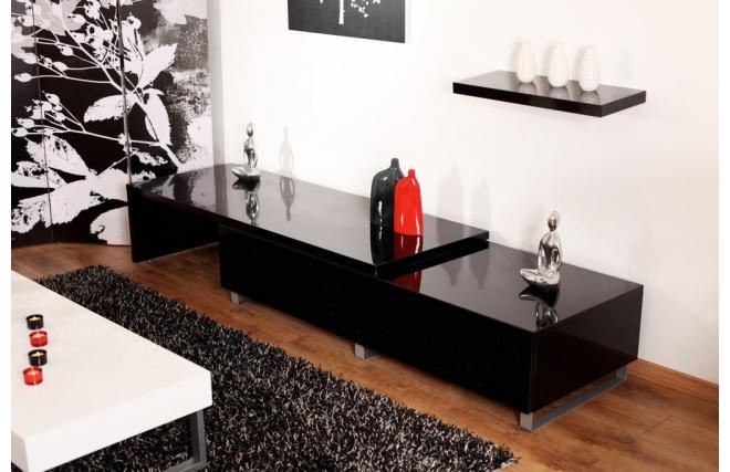 fernsehm bel new york erweiterbar schwarzlackiert miliboo. Black Bedroom Furniture Sets. Home Design Ideas