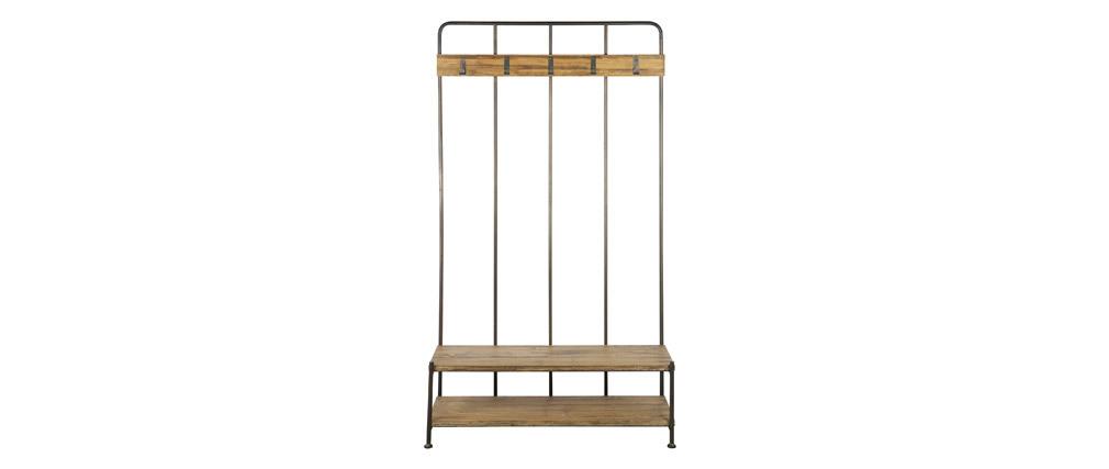 Garderobenständer mit Bank und Garderobe Holz und Metall GIRO
