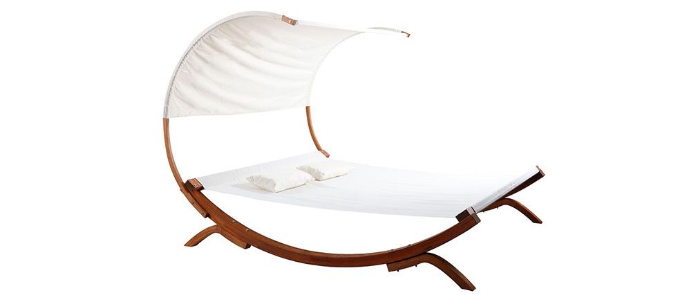 Garten-Liegestuhl Doppel-Sonnenliege BREHAT Wollweiß