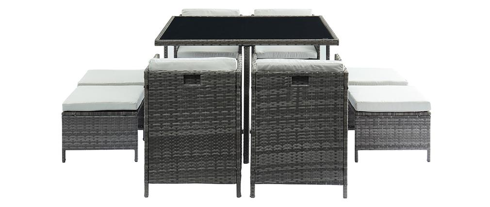 Garten-Wohnzimmer aus grauem Harzgeflecht mit Tisch, Sesseln und Sitzsäcken CORDOBA