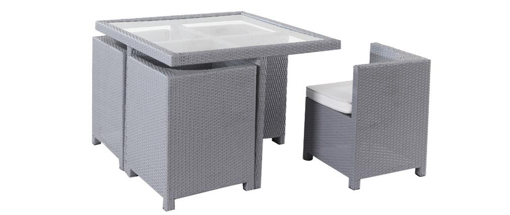 Gartenmöbel aus Harzgeflecht Tisch und Stühle GRECQUES Grau