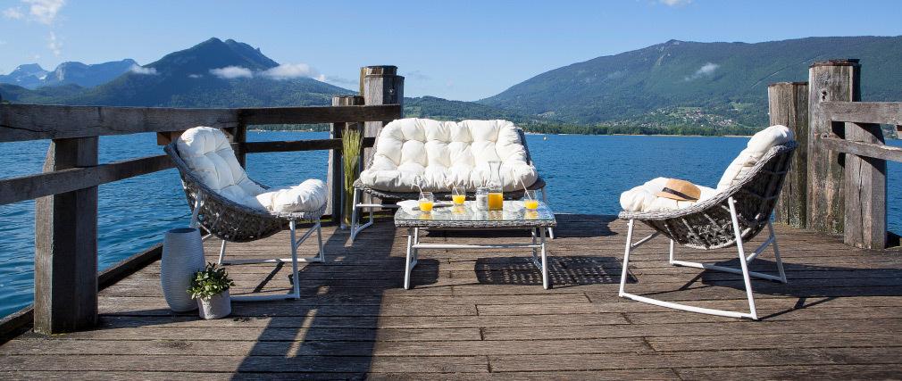 Gartenmöbelgarnitur aus Rattan Grau und Weiß mit Couchtisch - COMFY