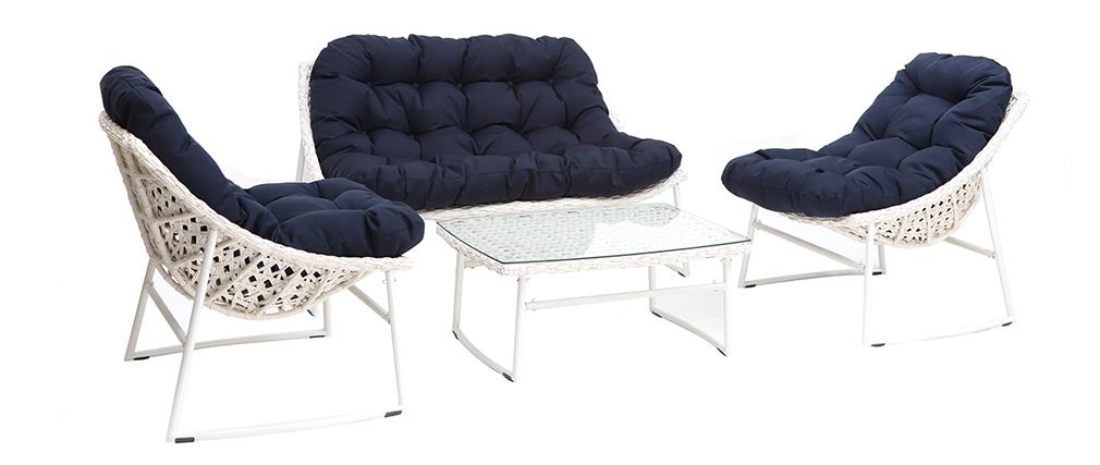 Gartenmöbelgarnitur aus Rattan Weiß und Dunkelblau mit Couchtisch - COMFY