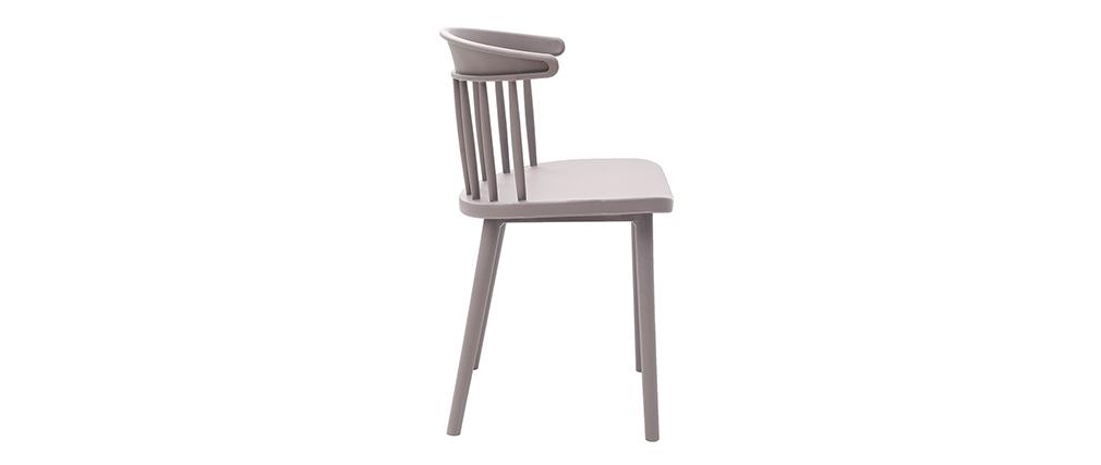 Graue Design-Stühle mit Leisten innen/außen (2-er Satz) HOLLY