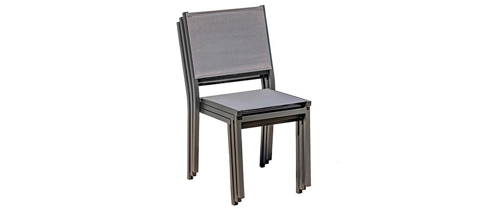 Graue stapelbare Gartenstühle (2er-Satz) PORTOFINO