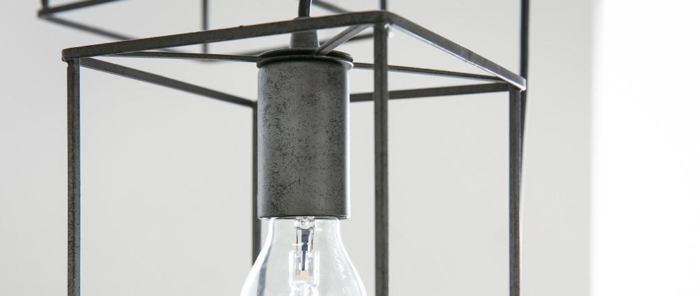 Hängelampe im Industrial Style 3 Leuchten altsilber QUATRO