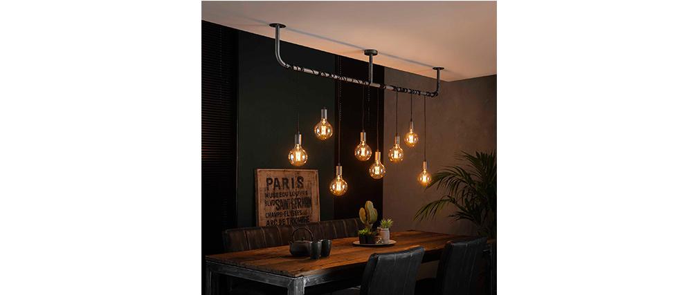 Hängelampe im Industrial Style altsilber 8 Leuchten LIDO