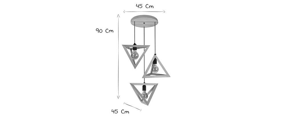 Hängelampe mit Holzpyramide 3 DUNE-Lampen