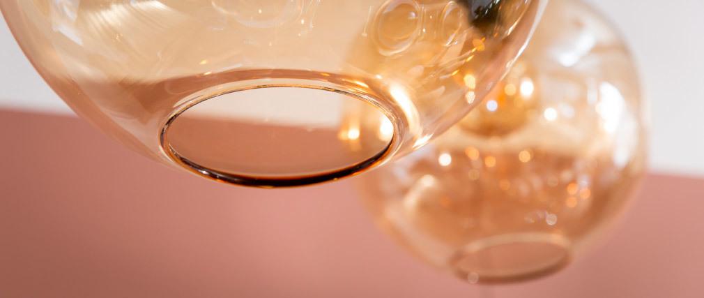 Hängeleuchte aus bernsteinfarbenem Glas Durchmesser 30 cm DUNA