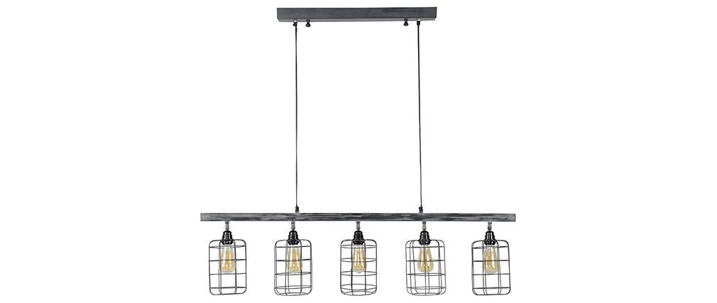 Hängeleuchte Industrial 5 Lampen aus Metall Grau LOFT