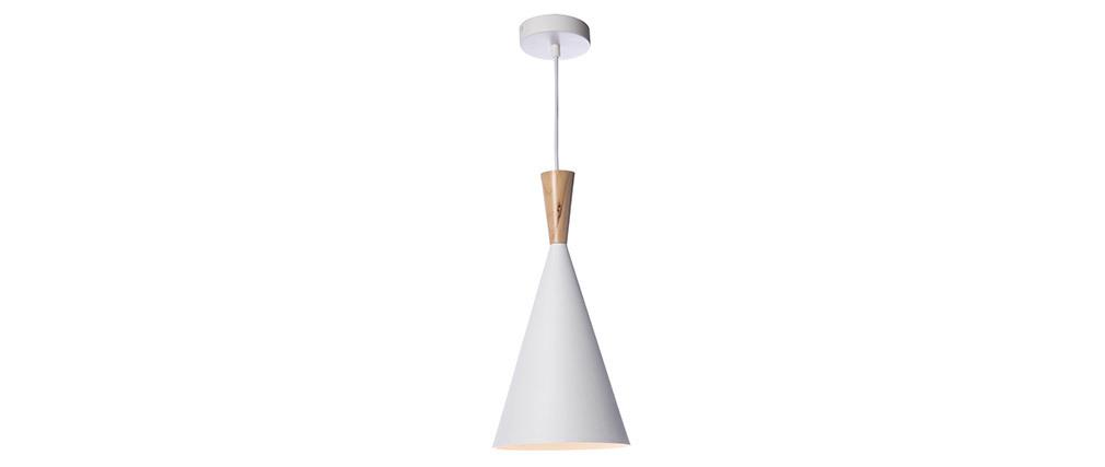 Hängeleuchte JAVA aus weißem Metall und Holz, Ø 19 cm