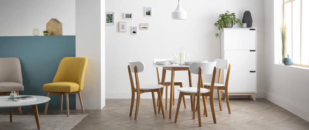 Hängeleuchte JAVA aus weißem Metall und Holz, Ø 24 cm