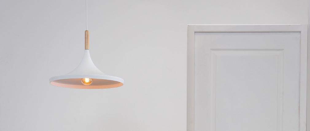 Hängeleuchte JAVA aus weißem Metall und Holz, Ø 36 cm