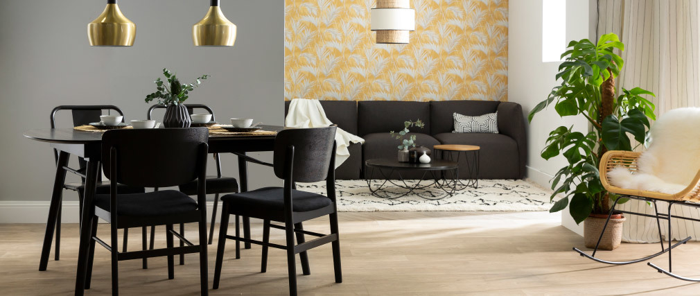 Helle Holzstühle mit dunkelgrauem Stoff (2er-Set) SHELDON