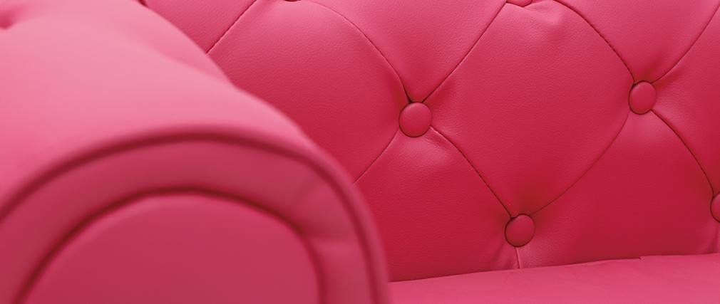 Himbeerfarbenes Kindersofa mit 2 Sitzplätzen - BABY CHESTERFIELD