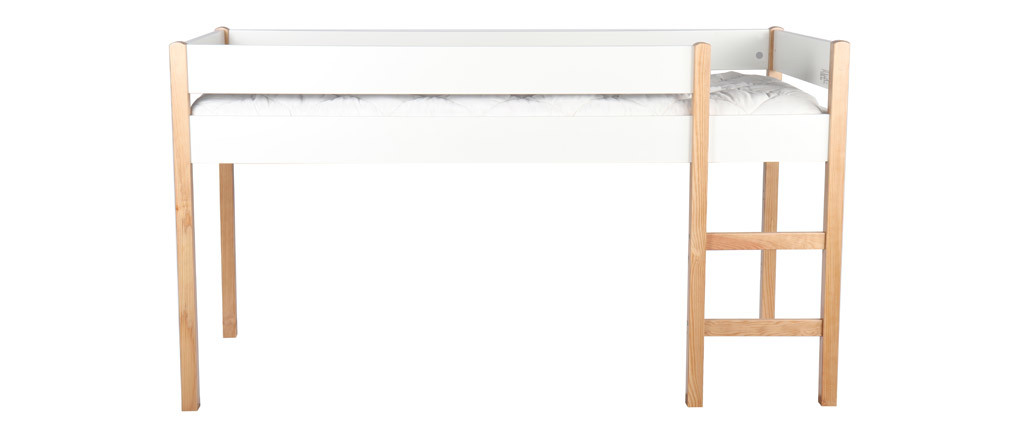 Hochbett Kinderbett mit herausnehmbaren Platten Weiß und helles Holz ALTO