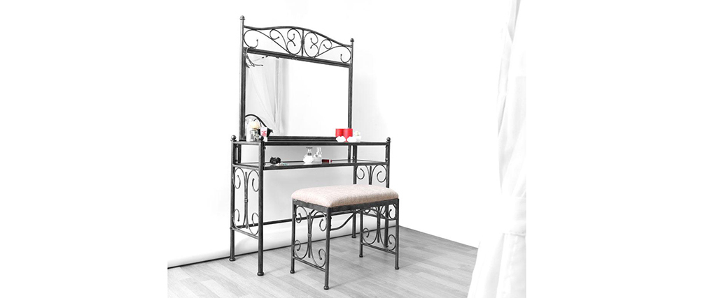 hocker im barockstil metall victoria schwarz miliboo. Black Bedroom Furniture Sets. Home Design Ideas