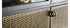Hohe Anrichte im Industrial Style aus grauem Metall und Gold MAGIC