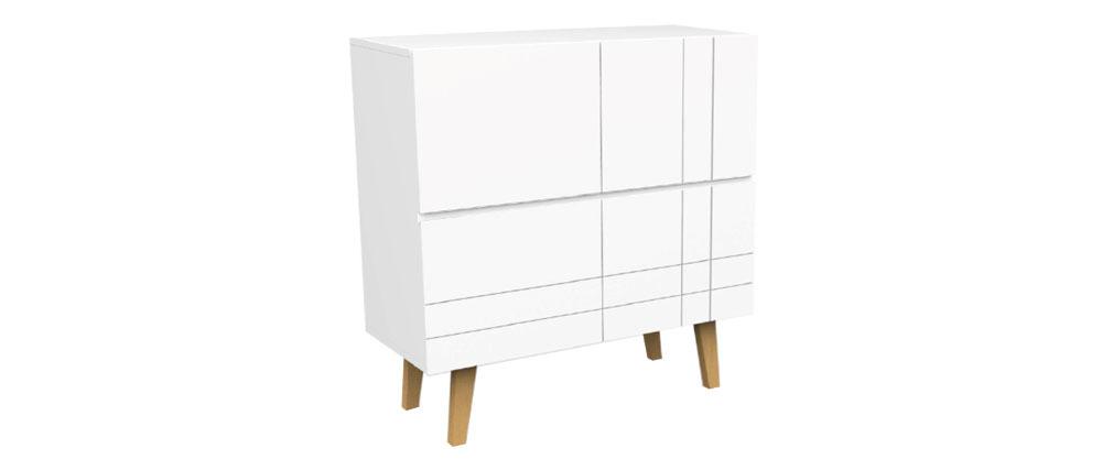 Hohes Design-Sideboard Mattweiß lackiert und Holz ADORNA