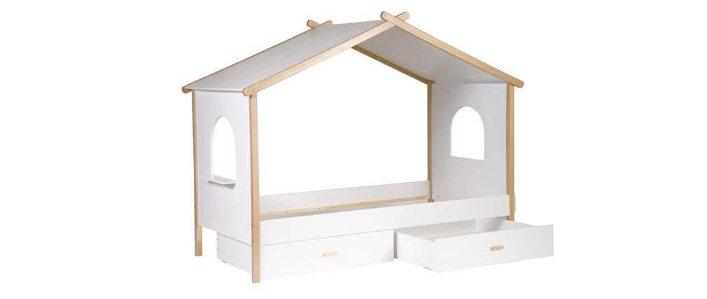 Hüttenbett für Kinder mit Design-Schubladen BIRDY