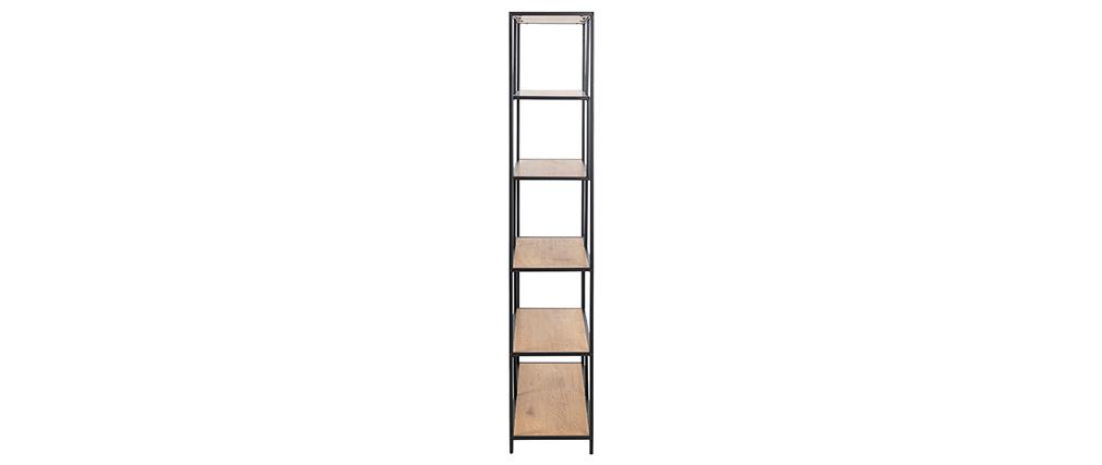 Industrie-Bücherregal aus schwarzem Metall und Holz L114 cm TRESCA