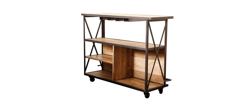 Industrielle Design-Bar INDUSTRIA aus Massivholz
