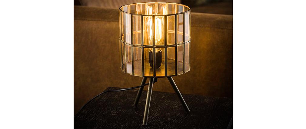 Industrielle Tischleuchte auf Metallbeinen aus Bronze CANOPY