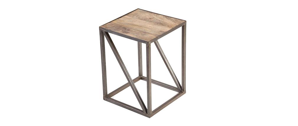 Industrieller Beistelltisch ATELIER Massivholz und Metall