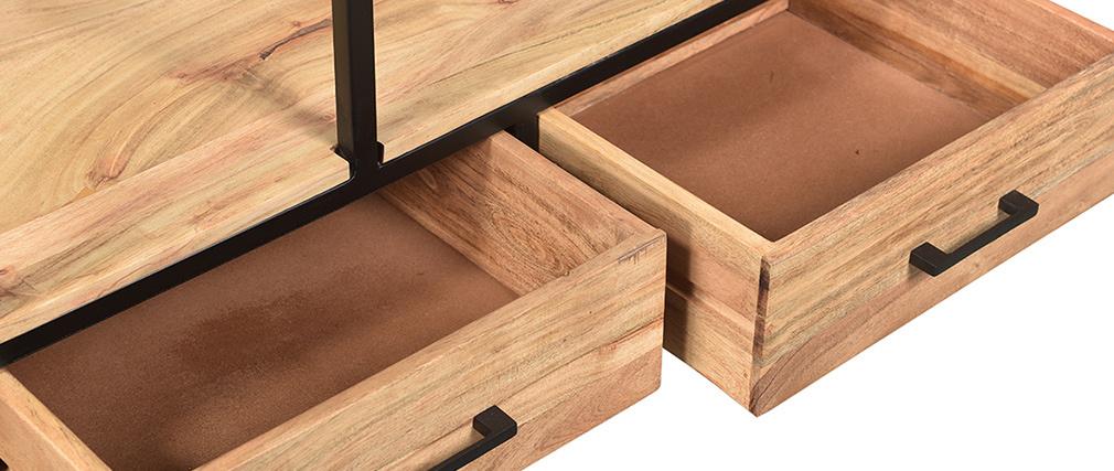 Industrieller Bücherschrank aus massivem Akazienholz und schwarzem Metall L90 cm JASPE