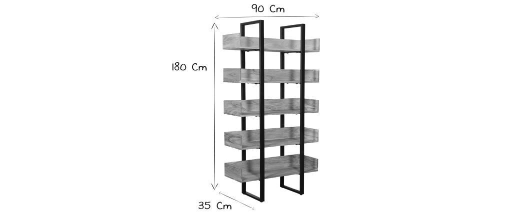 Industrieller Bücherschrank aus massivem Akazienholz und schwarzem Metall L90 cm TAO