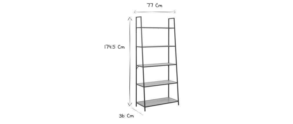 Industrieller Bücherschrank aus schwarzem Metall und Holz L77 cm TRESCA
