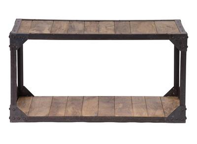 Industrieller Couchtisch ATELIER Massivholz und Metall