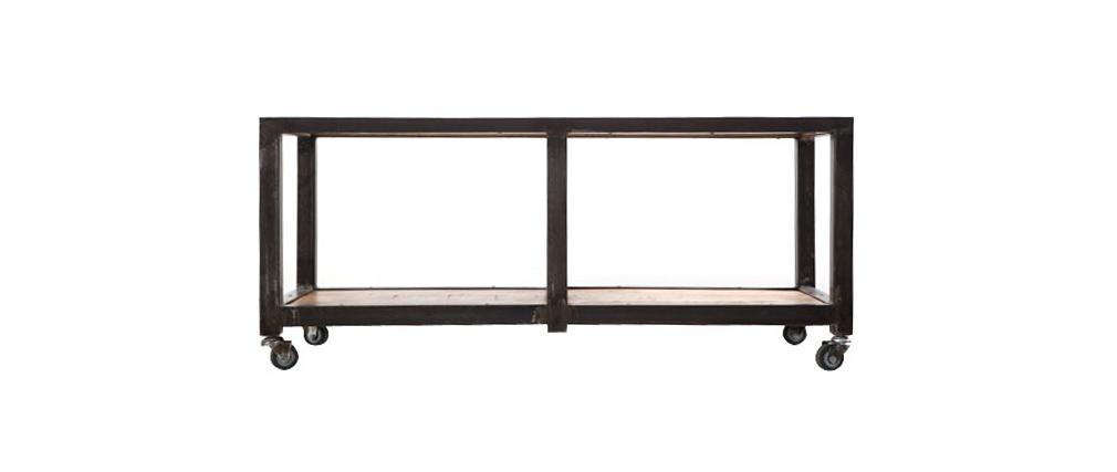 Industrieller Couchtisch/TV-Möbel ATELIER ROLL Massivholz und Metall