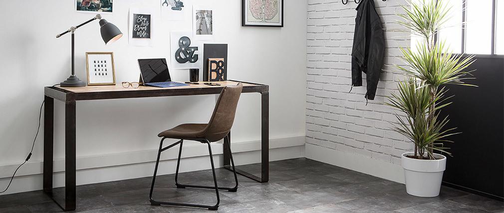 Industrieller Design-Schreibtisch aus Massivholz L156 cm INDUSTRIA