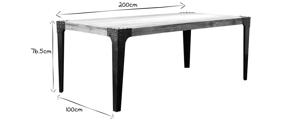 Industrieller Esstisch Metall und Holz L200 MADISON