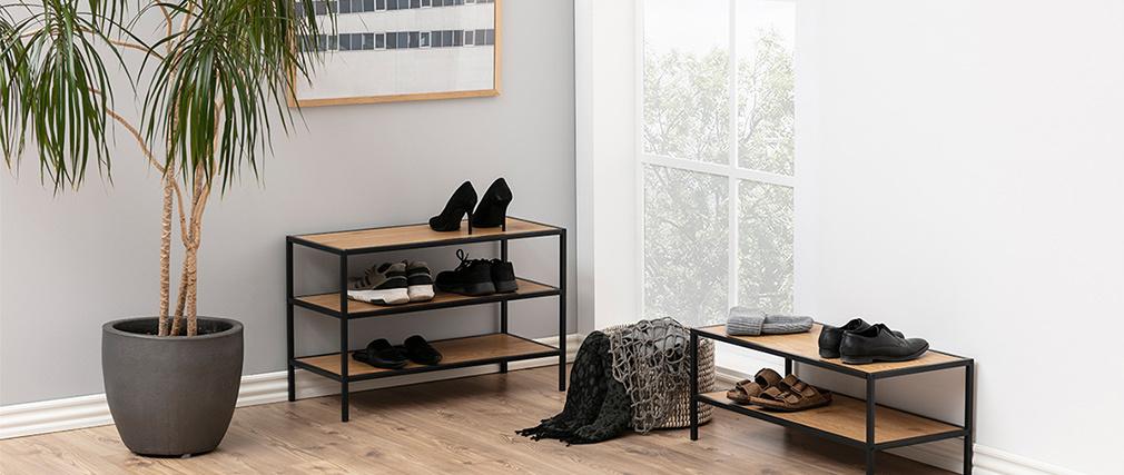 Industrieller Schuhschrank aus Metall und Holz TRESCA