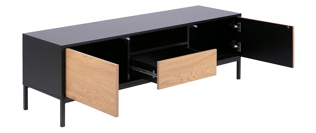 Industrieller TV-Schrank aus Holz und Metall L140 cm TRESCA