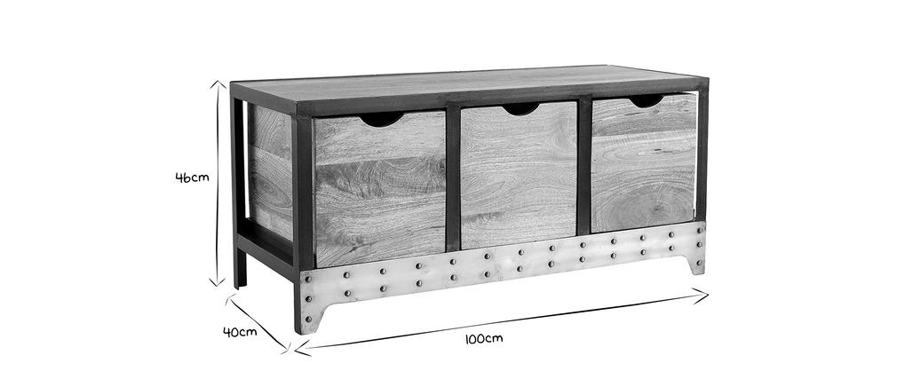 Industrielles Aufbewahrungs- / Schuhmöbel ATELIER Massivholz und Metall
